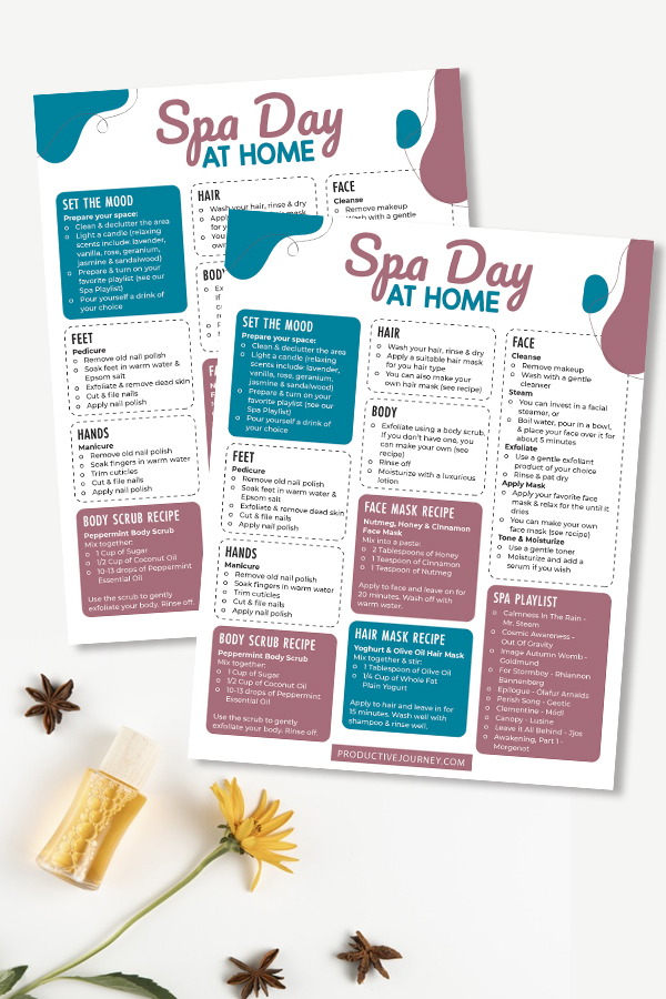 Spa Day at Home Productive Journey Blog Pin